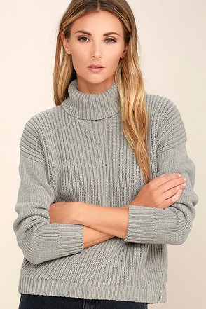 Rhythm Snowflake Grey Turtleneck Sweater at Lulus.com!