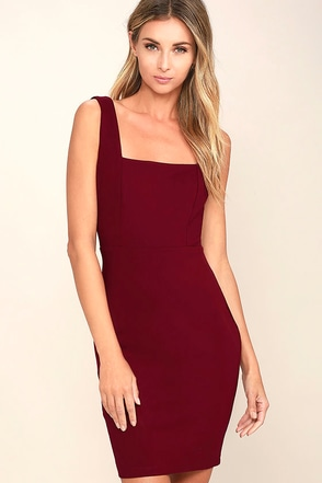 Square Cute Burgundy Bodycon Dress at Lulus.com!