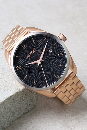 Nixon Bullet Rose Gold and Black Sunray Watch at Lulus.com!