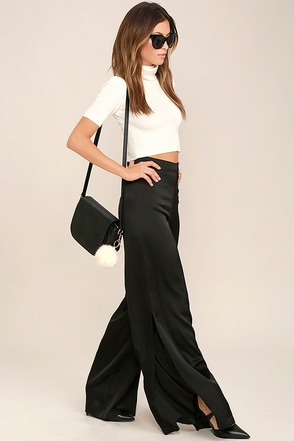 See Me Now Black Satin Wide-Leg Pants at Lulus.com!