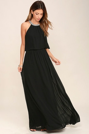 What a Feeling Black Maxi Dress at Lulus.com!