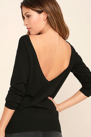 Me Too Black Backless Sweater Top 1