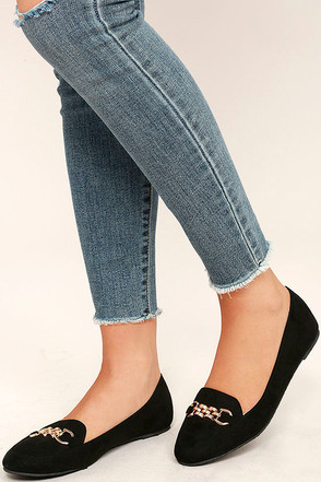Walk the Walk Black Suede Loafer Flats at Lulus.com!