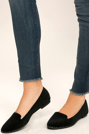 Walk Softly Black Faux Pony Fur Loafer Flats at Lulus.com!