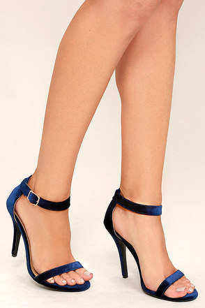 Time to Party Navy Velvet Ankle Strap Heels at Lulus.com!