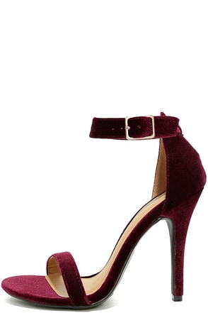 Time to Party Burgundy Velvet Ankle Strap Heels at Lulus.com!
