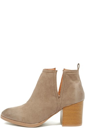 Come Out on Top Taupe Suede Ankle Booties at Lulus.com!