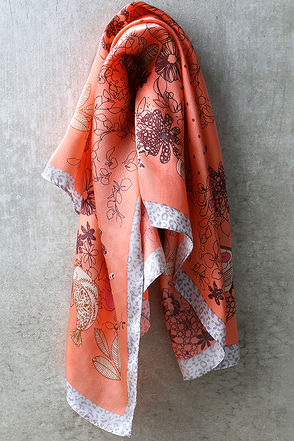 Out of Sight Coral Pink Floral Print Silk Bandana at Lulus.com!