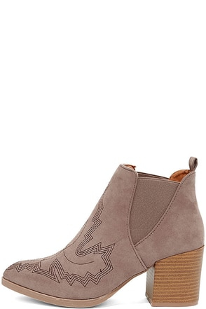 Oregon Trail Taupe Suede High Heel Ankle Booties at Lulus.com!