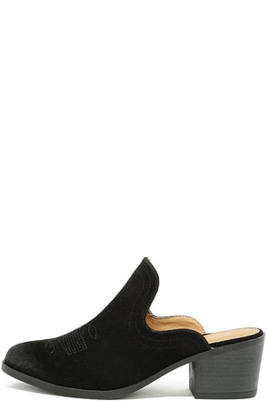 Across the Canyon Black Suede Mules at Lulus.com!