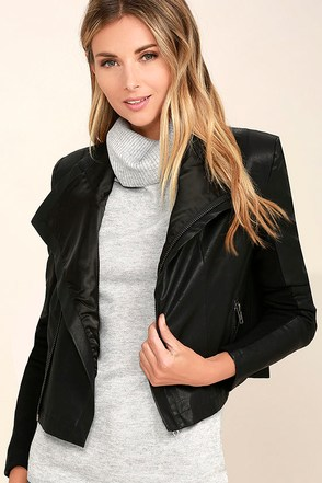 Do My Thing Black Vegan Leather Moto Jacket at Lulus.com!