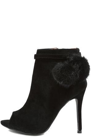 Fierce Fashionista Black High Heel Peep Toe Booties at Lulus.com!
