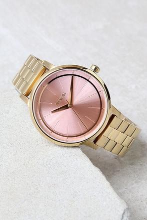Nixon Kensington Light Gold and Pink Watch at Lulus.com!