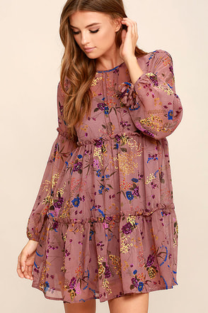 Secret Place Mauve Floral Print Dress at Lulus.com!