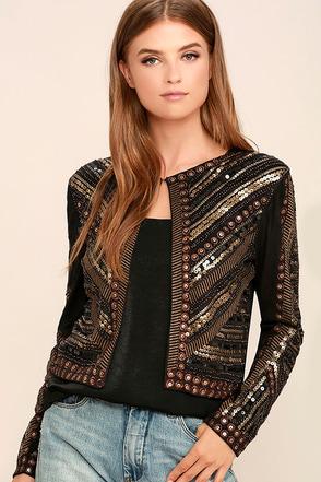 Lexington Avenue Black Sequin Jacket at Lulus.com!