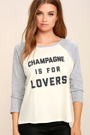 Amuse Society Champagne is for Lovers Grey Long Sleeve Top at Lulus.com!