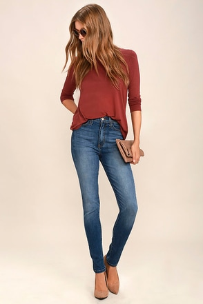 Bae by Day Medium Wash High-Waisted Skinny Jeans at Lulus.com!