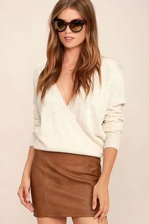 Love Games Tan Vegan Leather Mini Skirt at Lulus.com!