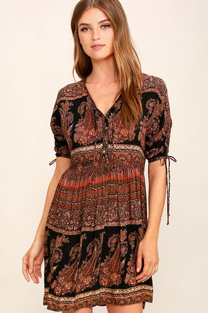 O'Neill Lottie Black Print Dress at Lulus.com!