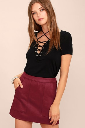 Simply Perf Black Suede Mini Skirt at Lulus.com!