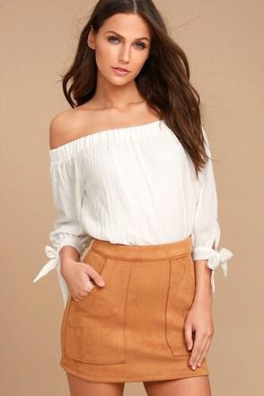 Simply Perf Tan Suede Mini Skirt 1