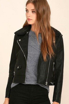 Obey Billie Black Vegan Leather Moto Jacket at Lulus.com!