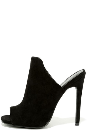 Effortless Stride Black Suede Peep Toe Mules at Lulus.com!