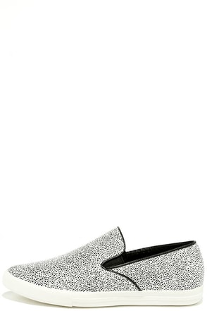 Step to It Black and White Slip-On Sneakers at Lulus.com!