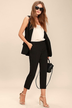 Brunch Break Black Trouser Pants at Lulus.com!