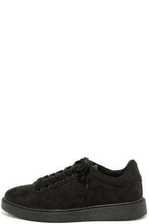 Skater Girl Black Suede Sneakers at Lulus.com!