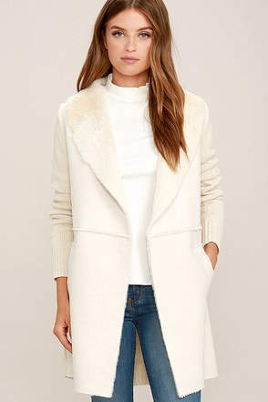 Fields of Grain Beige Sherpa Coat at Lulus.com!