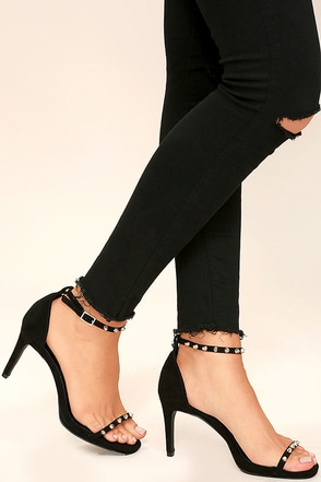 Riled Up Black Suede Studded Ankle Strap Heels at Lulus.com!