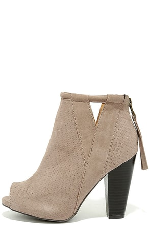 For Me Taupe Suede Peep-Toe Booties at Lulus.com!