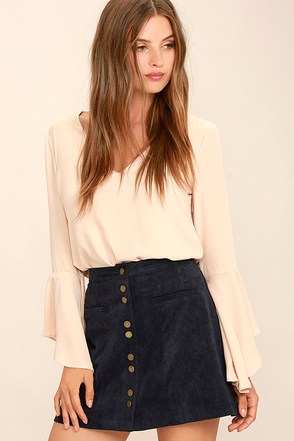 Made with Moxie Navy Blue Corduroy Mini Skirt at Lulus.com!