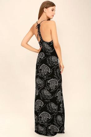 O'Neill Anissa Black Print Maxi Dress at Lulus.com!