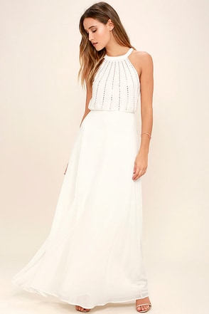 Real and True Cream Beaded Maxi Dress at Lulus.com!