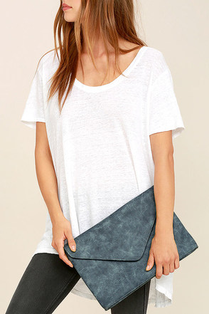 Classically Composed Slate Blue Clutch at Lulus.com!
