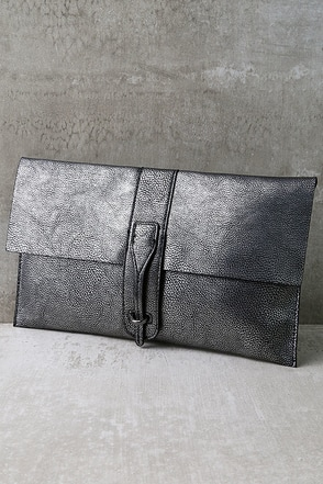 To the Moon Gunmetal Clutch at Lulus.com!