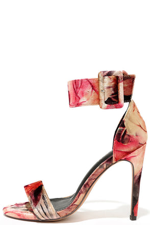 Love and Luck Beige Floral Velvet Ankle Strap Heels at Lulus.com!