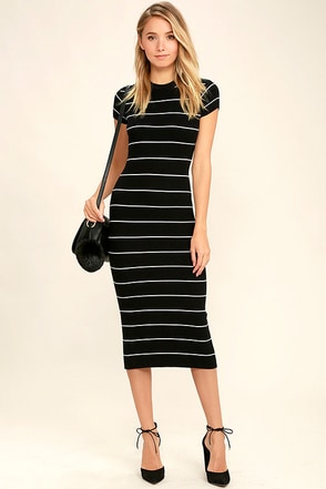 Walk About Black and White Striped Midi Dress at Lulus.com!