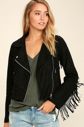Kendall Black Suede Fringe Moto Jacket at Lulus.com!