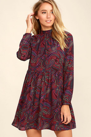 Jack by BB Dakota Triston Burgundy Paisley Print Dress at Lulus.com!