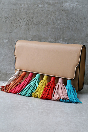 Sneak Preview Beige Tassel Purse at Lulus.com!
