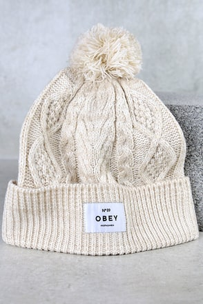 Obey Freja Navy Blue Striped Knit Beanie at Lulus.com!