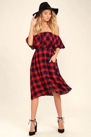 Woodland Wanderer Red Plaid Off-the-Shoulder Dress at Lulus.com!