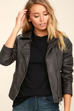 Black Swan Bella Washed Black Vegan Leather Moto Jacket at Lulus.com!