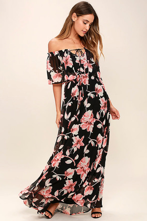 Infinite Love Black Floral Print Off-the-Shoulder Maxi Dress at Lulus.com!