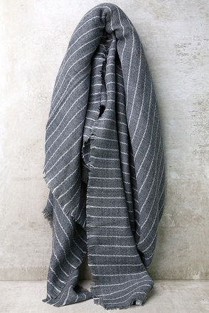 Beyond Love's Limits Grey Striped Scarf at Lulus.com!