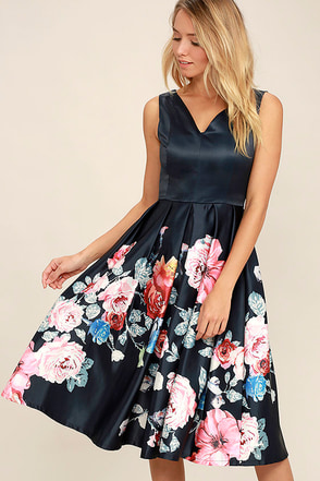 Anything Floral You Navy Blue Floral Print Midi Dress at Lulus.com!
