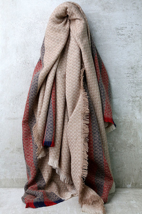 Cold Snap Beige Striped Scarf at Lulus.com!